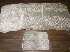 ROMANY WASHABLES NEW DESIGN SET OF 4 MATS XLARGE SIZES 100X140CM SILVER NON SLIP